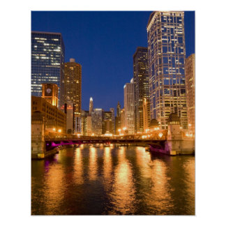 Chicago, Illinois, horizonte y el río Chicago en Póster
