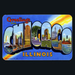 "Chicago Illinois IL Large Letter Postcard Magnet<br><div class=""desc"">Chicago Illinois IL Large Letter Greetings Postcard Magnet !!!</div>"
