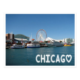 Chicago Illinois ( IL ) Navy Pier Ferris Wheel USA Postcard