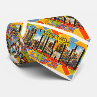Chicago Illinois IL Old Vintage Travel Souvenir Tie