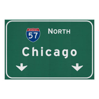 Chicago Illinois Interstate Highway Freeway Road : Poster
