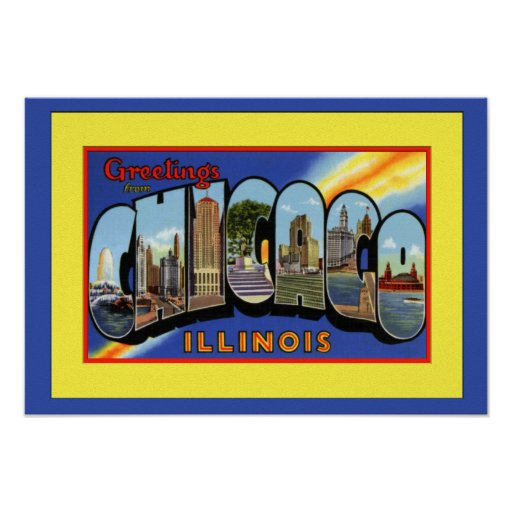 Chicago Illinois Large Letter Greetings Poster