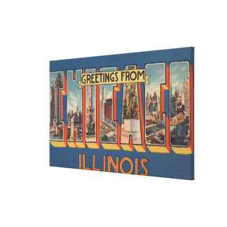 Chicago, Illinois - Large Letter Scenes Canvas Print