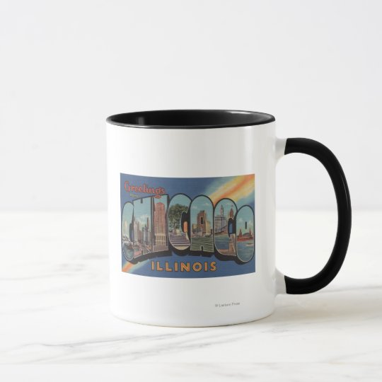 Chicago, Illinois - Large Letter Scenes Mug