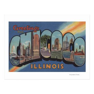 Chicago, Illinois - Large Letter Scenes Postcard