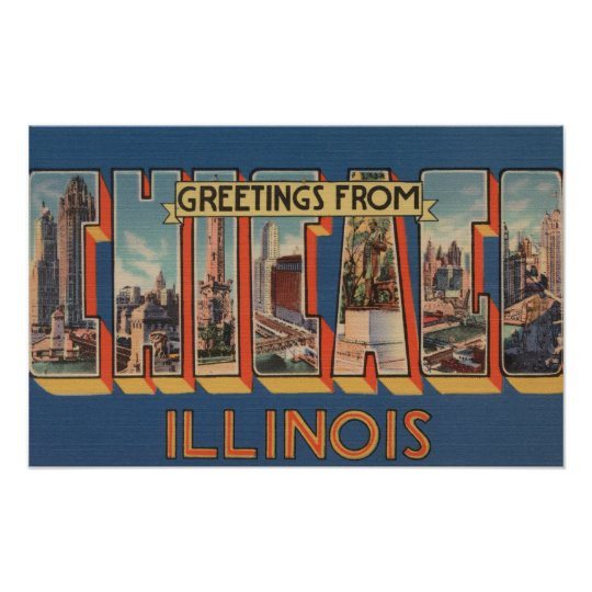 Chicago, Illinois - Large Letter Scenes Poster