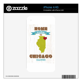 Chicago, Illinois Map – Home Is Where The Heart Is Skins For iPhone 4