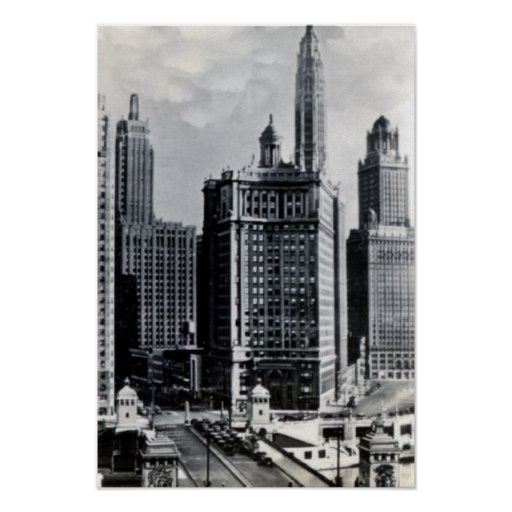 Chicago Illinois Michigan and Wacker Poster