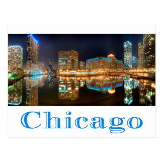Chicago Illinois Night Skyline Travel Post Card