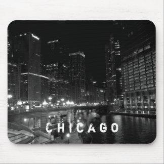 Chicago Illinois Night View Black & White Mouse Pad