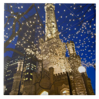 Chicago, Illinois, Old Water Tower with holiday Ceramic Tile