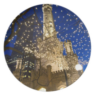 Chicago, Illinois, Old Water Tower with holiday Dinner Plate