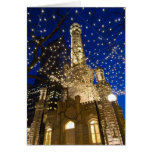 Chicago, Illinois, Old Water Tower with holiday Greeting Card