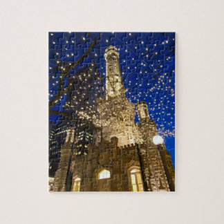 Chicago, Illinois, Old Water Tower with holiday Jigsaw Puzzle