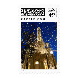 Chicago, Illinois, Old Water Tower with holiday Stamps