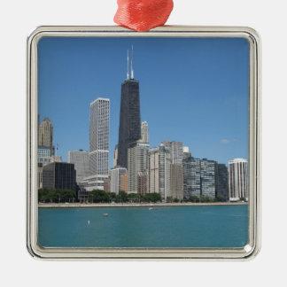 Chicago, Illinois Square Metal Christmas Ornament