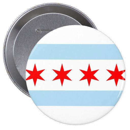 Chicago, Illinois Pin Redondo De 4 Pulgadas