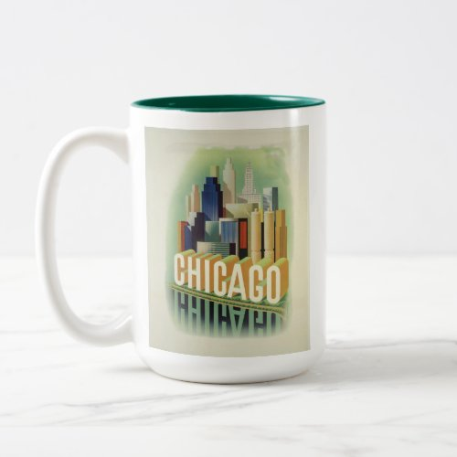 Chicago Illinois Retro Vintage Travel Poster