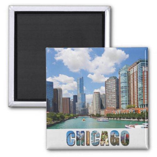 Chicago Illinois River Skyline Photo Magnet
