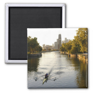 Chicago, Illinois, Rowers en la laguna de Lincoln  Imán Cuadrado