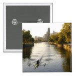 Chicago, Illinois, Rowers en la laguna de Lincoln  Pin Cuadrado
