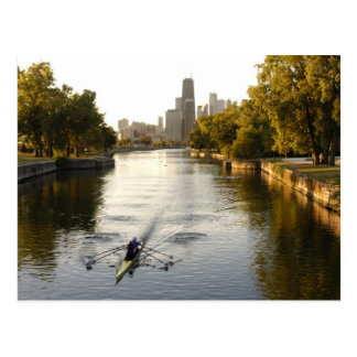 Chicago, Illinois, Rowers en la laguna de Lincoln Postales