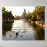 Chicago, Illinois, Rowers en la laguna de Lincoln  Póster