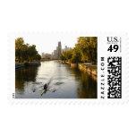Chicago, Illinois, Rowers en la laguna de Lincoln Sello Postal