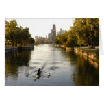 Chicago, Illinois, Rowers in Lincoln Park lagoon Card