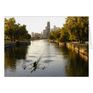 Chicago, Illinois, Rowers in Lincoln Park lagoon Greeting Card