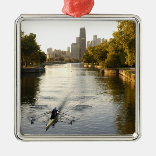 Chicago, Illinois, Rowers in Lincoln Park lagoon Metal Ornament