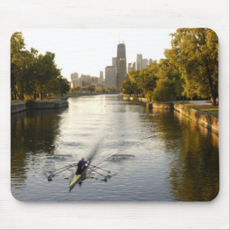 Chicago, Illinois, Rowers in Lincoln Park lagoon Mouse Pad