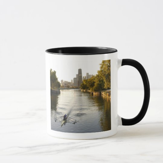 Chicago, Illinois, Rowers in Lincoln Park lagoon Mug