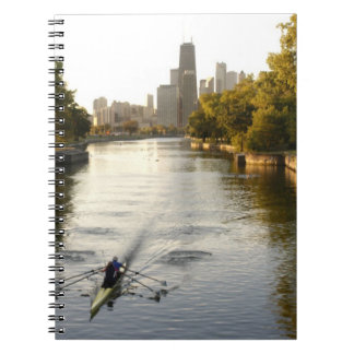Chicago, Illinois, Rowers in Lincoln Park lagoon Notebook