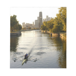 Chicago, Illinois, Rowers in Lincoln Park lagoon Notepad