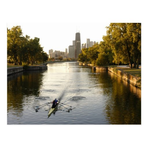 Chicago, Illinois, Rowers in Lincoln Park lagoon Postcards