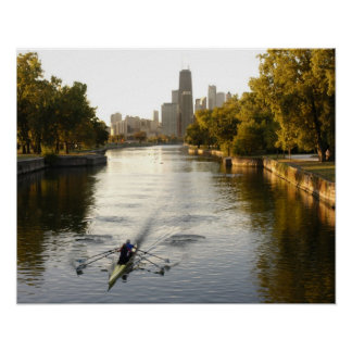 Chicago, Illinois, Rowers in Lincoln Park lagoon Poster