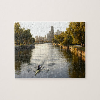Chicago Illinois Rowers in Lincoln Park lagoon Jigsaw Puzzle