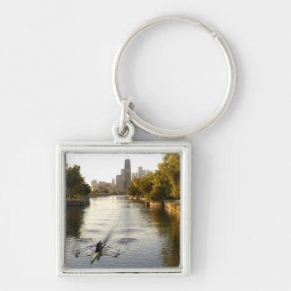 Chicago, Illinois, Rowers in Lincoln Park lagoon Silver-Colored Square Keychain