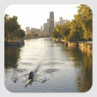 Chicago Illinois Rowers in Lincoln Park lagoon Stickers