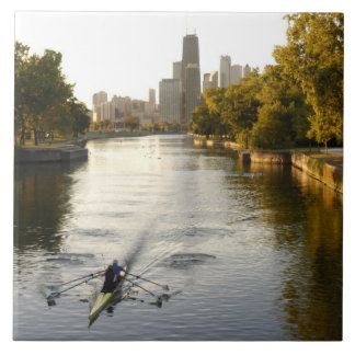 Chicago, Illinois, Rowers in Lincoln Park lagoon Ceramic Tile