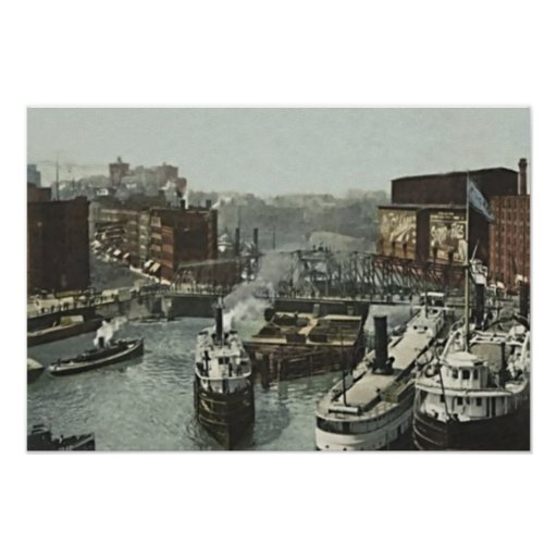 Chicago, Illinois Rush Street at the Chicago River Poster