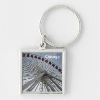 Chicago Illinois Silver-Colored Square Keychain