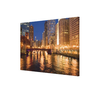 Chicago, Illinois, Skyline and Chicago River at 2 Gallery Wrapped Canvas