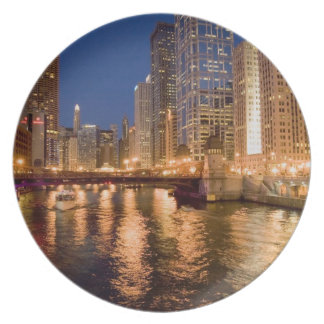 Chicago, Illinois, Skyline and Chicago River at 2 Dinner Plate