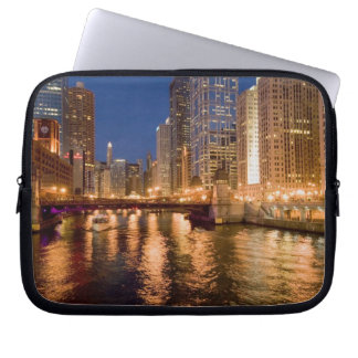 Chicago, Illinois, Skyline and Chicago River at 2 Computer Sleeves