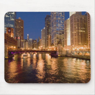 Chicago, Illinois, Skyline and Chicago River at 2 Mouse Pad