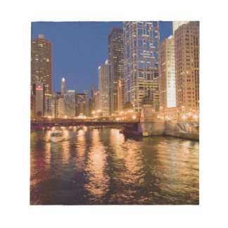 Chicago, Illinois, Skyline and Chicago River at 2 Notepad