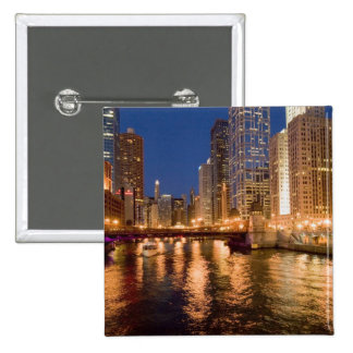 Chicago, Illinois, Skyline and Chicago River at 2 Pinback Button