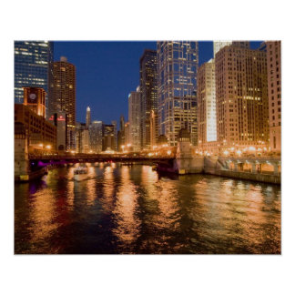 Chicago, Illinois, Skyline and Chicago River at 2 Poster
